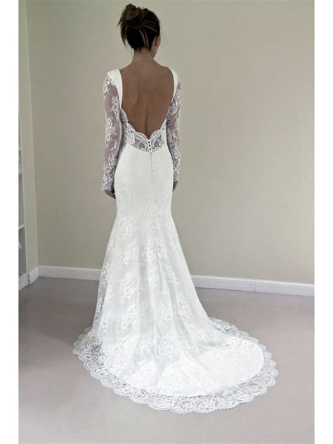 Long Sleeves Backless Lace Wedding Dresses Bridal Gowns