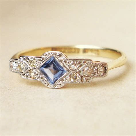 One of a Kind Art Deco Sapphire & Diamond Engagement Ring