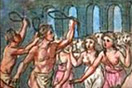 [image ALT: Acrowd of young women against a background of tall narrow arches; in front of them, two young men, naked except for a loincloth, each waving a large object like the handle of a leash. It is an 18cdepiction of the ancient Roman festival Lupercalia. The image serves as the icon on this site for 'The Lupercalia' by A.M.Franklin.]