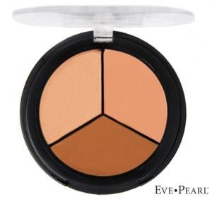 Eve Pearl Salmon Concealer. I keep a trio with Light, Med, Dark in my kit. I have a single of the Light in my personal bag too. Undereyes need color correction, NOT piles of concealer. This is magic.
