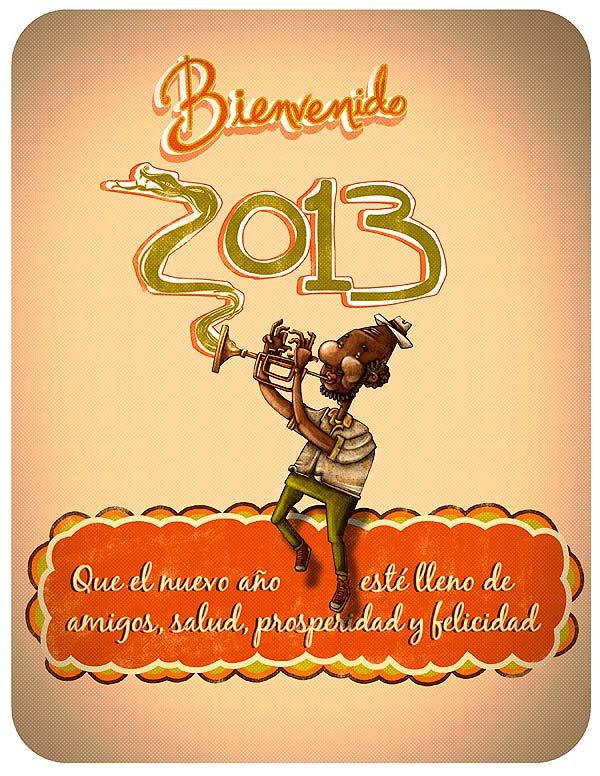 Postal de navidad y año nuevo 2013 por Hache Holguín