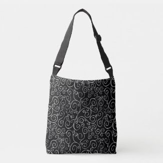 White Scrolling Curves on Black All-Over-Print Tote Bag