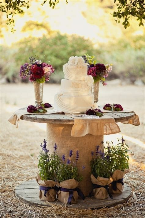 wire spool for cake stand   wedding decoration inspiration