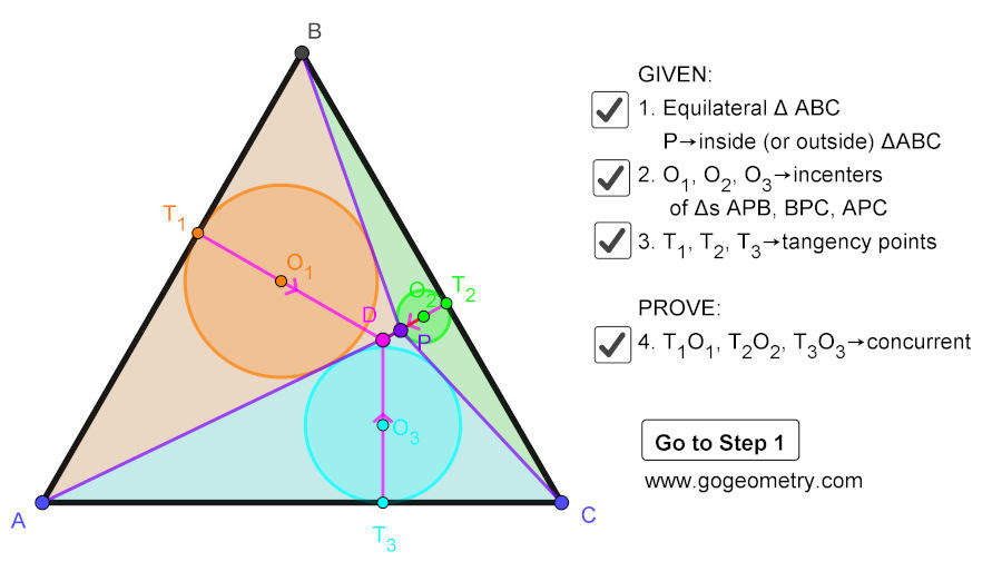 Dynamic Geometry Problem 1471: Equilateral Triangle, Inside/Outside Point, Incenters, Tangency Points, Concurrent Lines, Step-by-step Illustration, iPad.