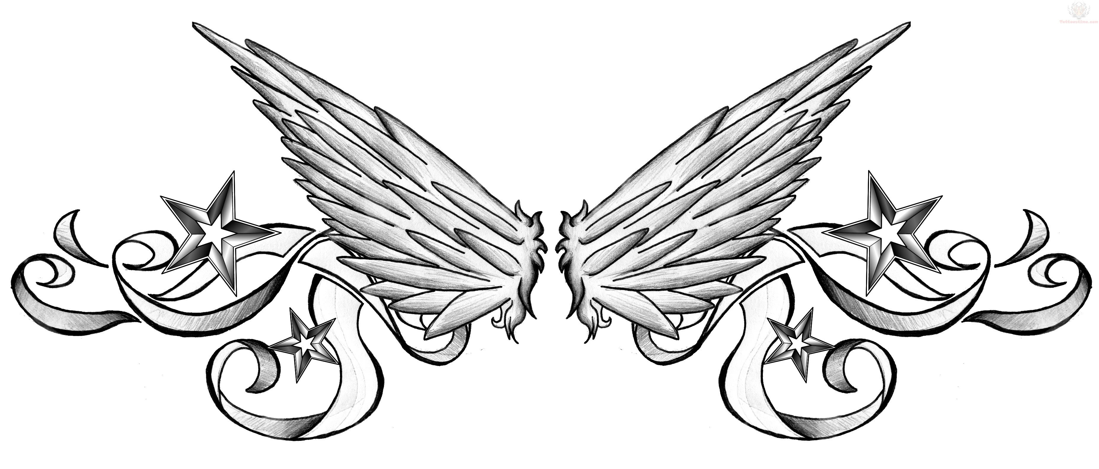 Guraded Angel Wings Tattoo On Lowerback