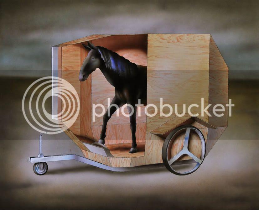 Paul fier dans son nouveau vehicule, dessin pierre guilhem aquarelle aerographe van a chevaux contemporain dessin d'un cheval qui pilote un van a chevaux design pierre charri collaboration pierre guilhem pierre charri