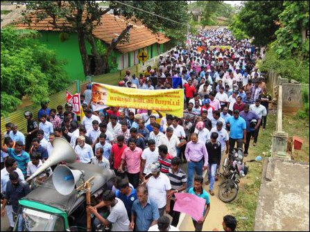 People rally in Jaffna in support of C.V. Wigneswaran