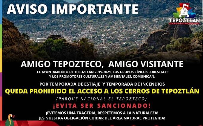 Cerrado acceso a los cerros en Tepoztlán