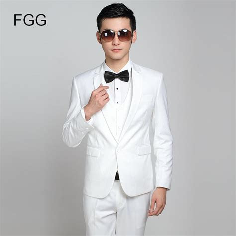 Fashion Brand Groom White Wedding Suits Slim Fit One
