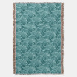 Floral Nature Photo Vibrant Aqua Rose Abstract Throw