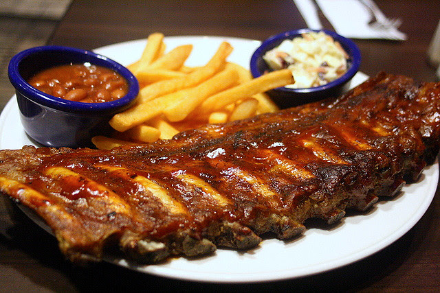 Hickory Smoked Bar-B-Que Ribs with fries, ranch beans and coleslaw