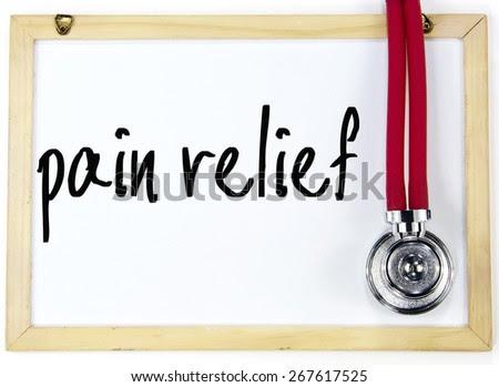 pain relief text write on blackboard - stock photo