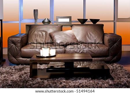 Modern Furniture In Living Room With Earth Tones Stock Photo ...