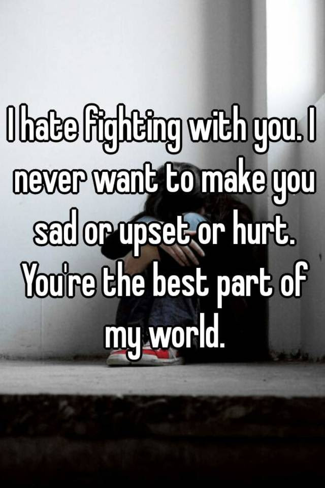 I Hate Fighting With You I Never Want To Make You Sad Or Upset Or