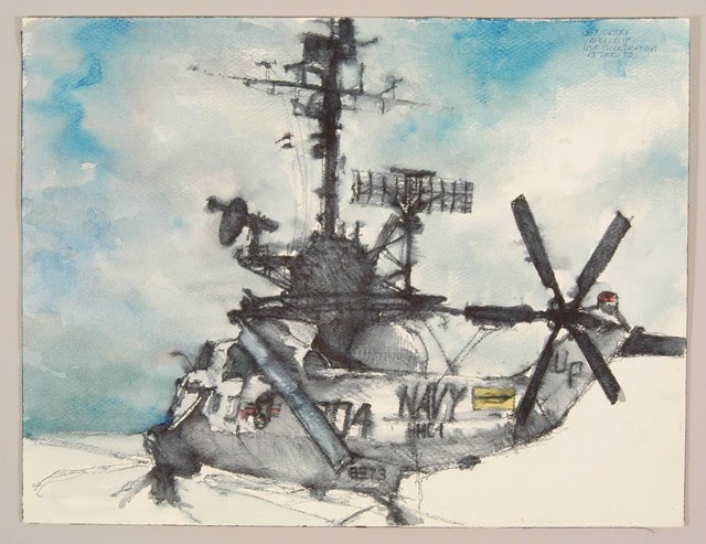 watercolour painting of naval helicopter with surfeit of NASA radar equipment