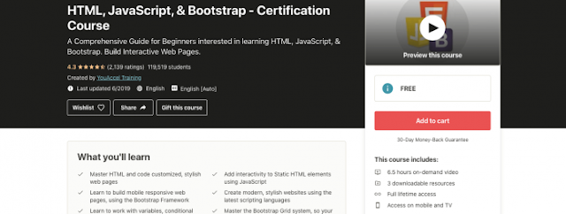 Free HTML, JavaScript, & Bootstrap Certification Course
