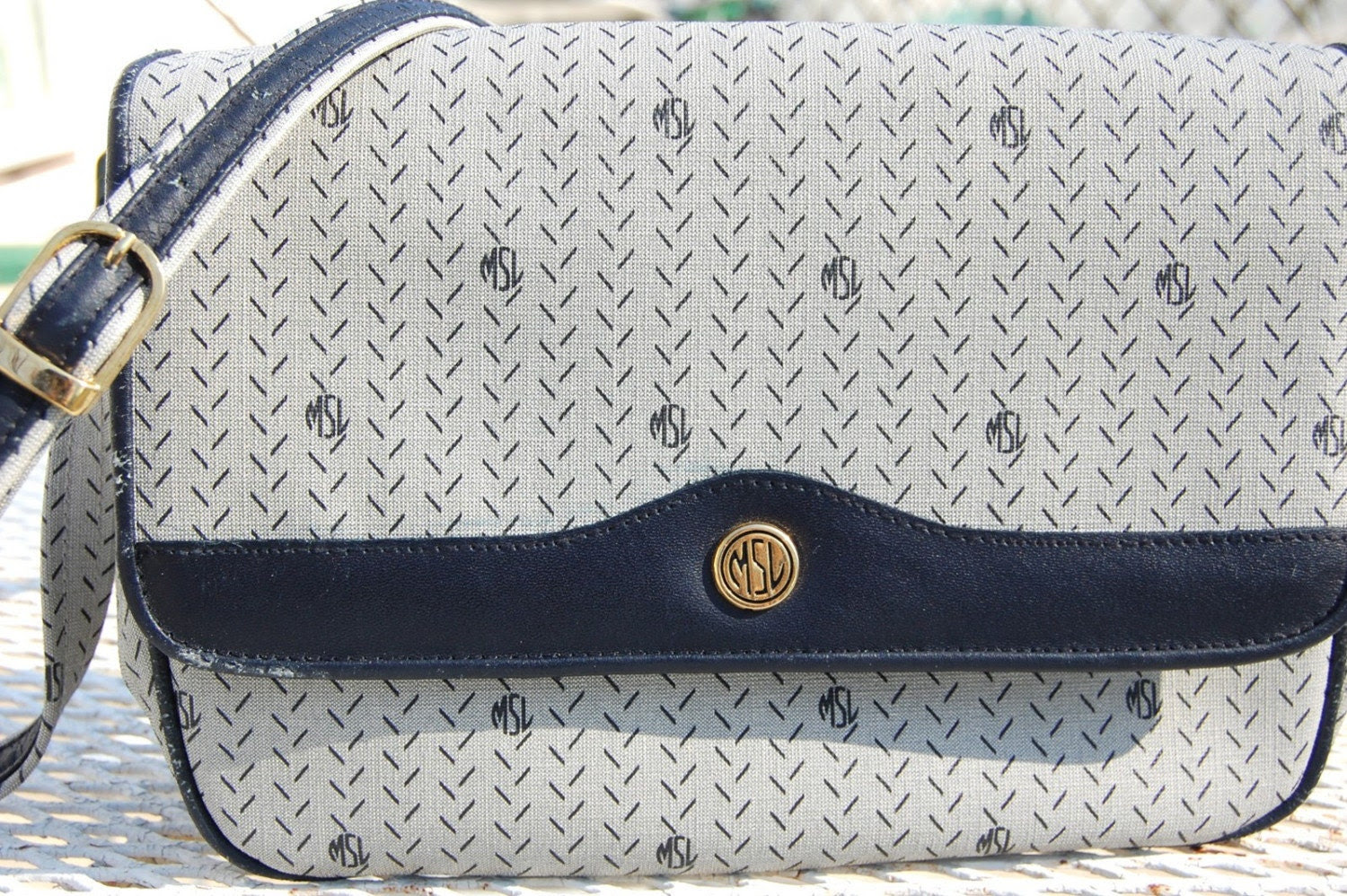 Vintage MONOGRAM Grey and Navy Blue MSL Purse SALE