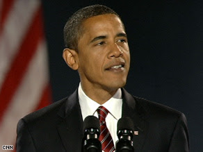 Barack Obama speaks at a rally in Chicago, Illinois, after winning the presidency Tuesday night.