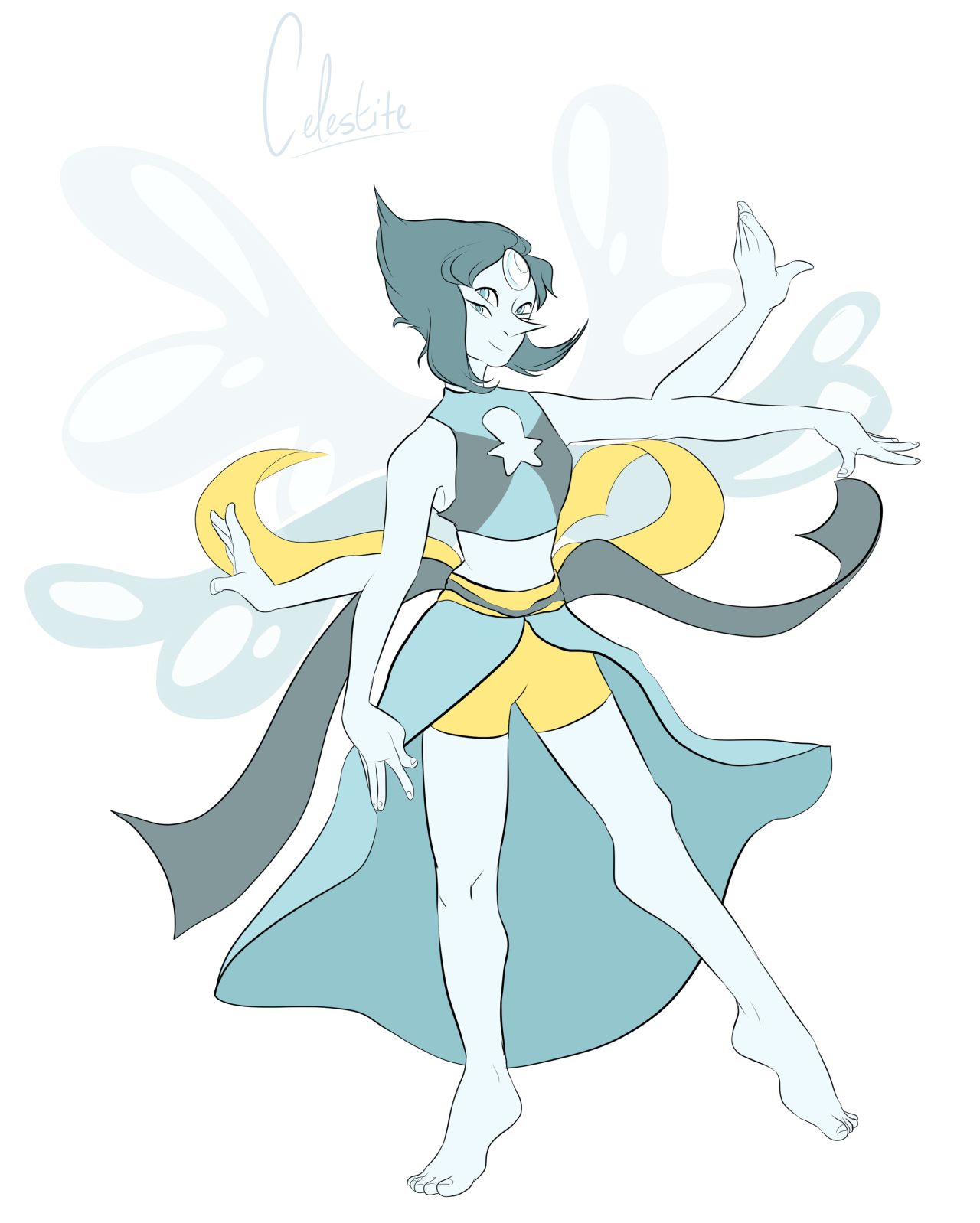 Slight revamp of Celestite's coloration - I felt the yellow would give more contrast and make her design pop a little more!