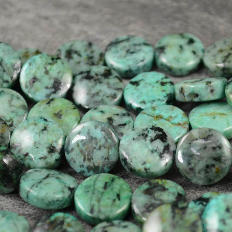 s22013 Stone Beads - 12 mm Coin - African Turquoise (strand)