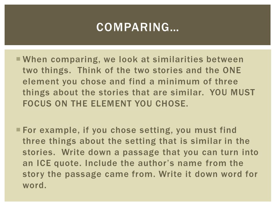 how to write an essay comparing two things