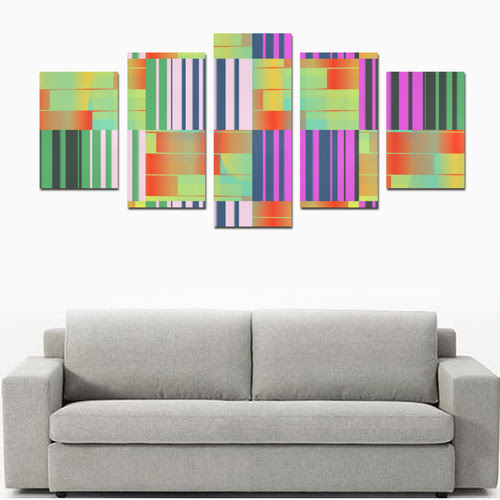 Vertical And Horizontal Stripes Canvas Print Sets D No Frame Id