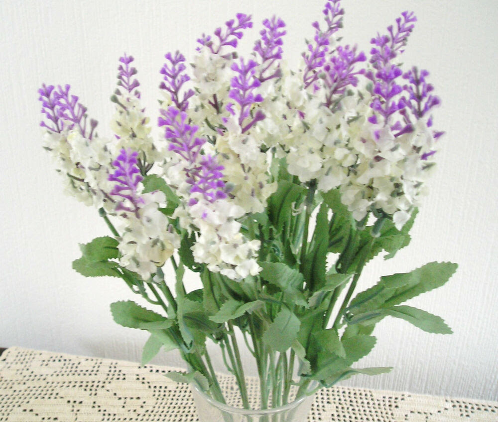 QUALITY ARTIFICIAL\/ SILK FLOWERS LAVENDER BUSH\u002639;S X2 IVORY AND LILAC  eBay