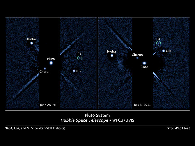 Two labeled Hubble WFC3/UVIS images of the Pluto system with new moon P4 circled. Left side image taken on June 28, 2011. Right side image taken on July 3, 2011.