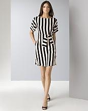 BCBGMAXAZRIA Women's Striped Crepe Dress
