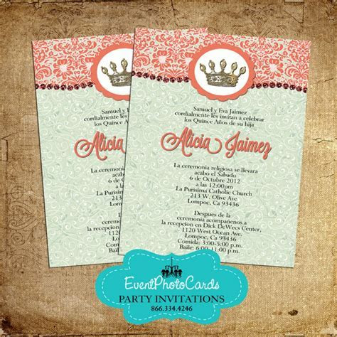 Mint and Coral Quinceanera Invitations   2017