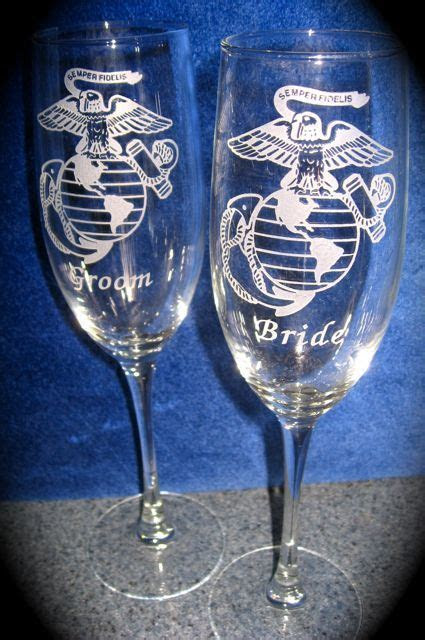 Personalized Engraved US Marine Corps Wedding glasses to