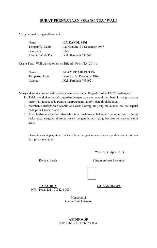 contoh surat pernyataan orang tua untuk pembuatan paspor