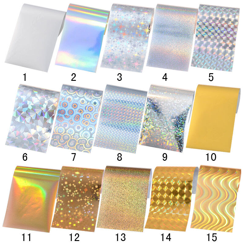 10 Sheets Shimmer Holographic Nail Art Foil Sticker Paper ...