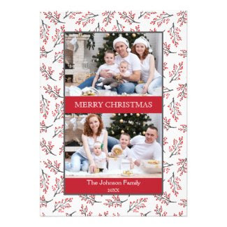 Modern Branches Merry Christmas Multi Photo Custom Announcement