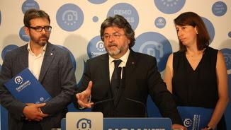 Antoni Castellà, durant la roda de premsa a la seu de Demòcrates per Catalunya