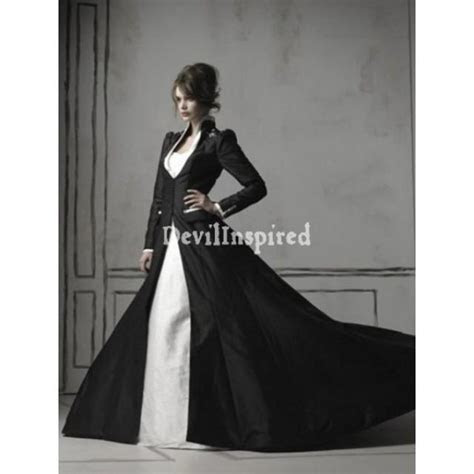 Black And White Long Sleeves Gothic Wedding Dress #1920525
