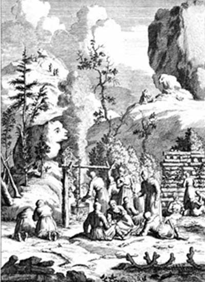 A depiction of the primitive tradition in Finland of holding ceremonies near rocks formations that look like humans or animals.