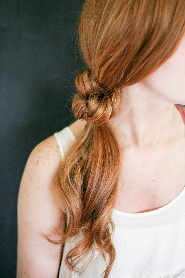 Le Fashion Blog Two Minute Knotted Ponytail Easy Hair Tutorial Red Hair White Free People Voile Tank Top Via Say Yes