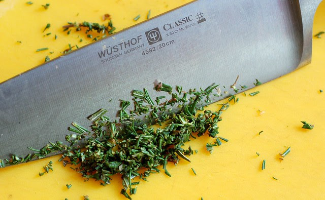 Chopping the rosemary with my favorite Wusthof knife by Eve Fox, Garden of Eating blog, copyright 2011