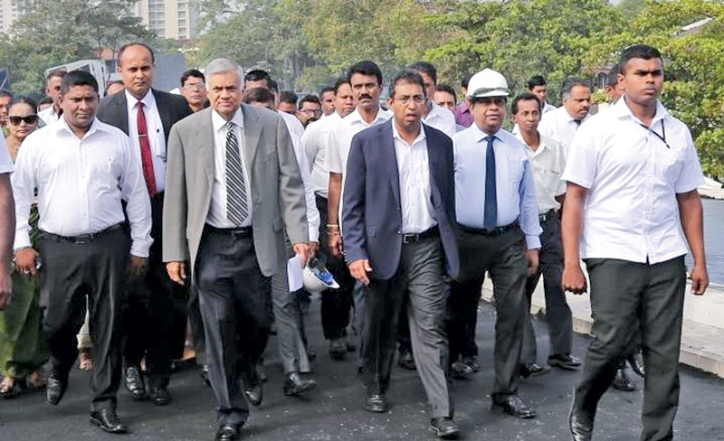 Prime Minister Ranil Wickremesinghe inspecting the construction work of the Rajagiriya Flyover. Pictures by Rukmal Gamage