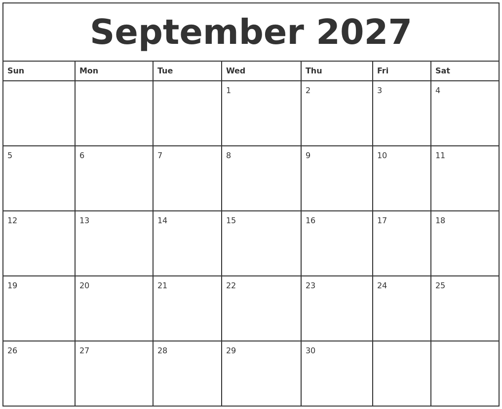 september 2027 printable monthly calendar
