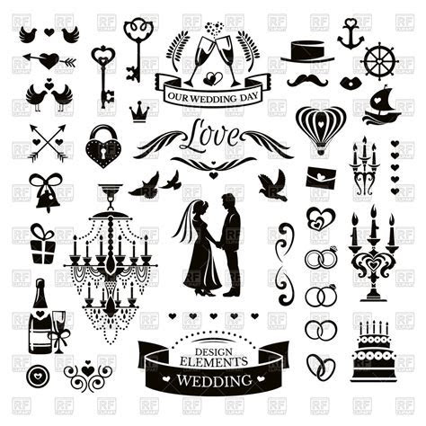 Wedding icons and design elements Vector Image of Design