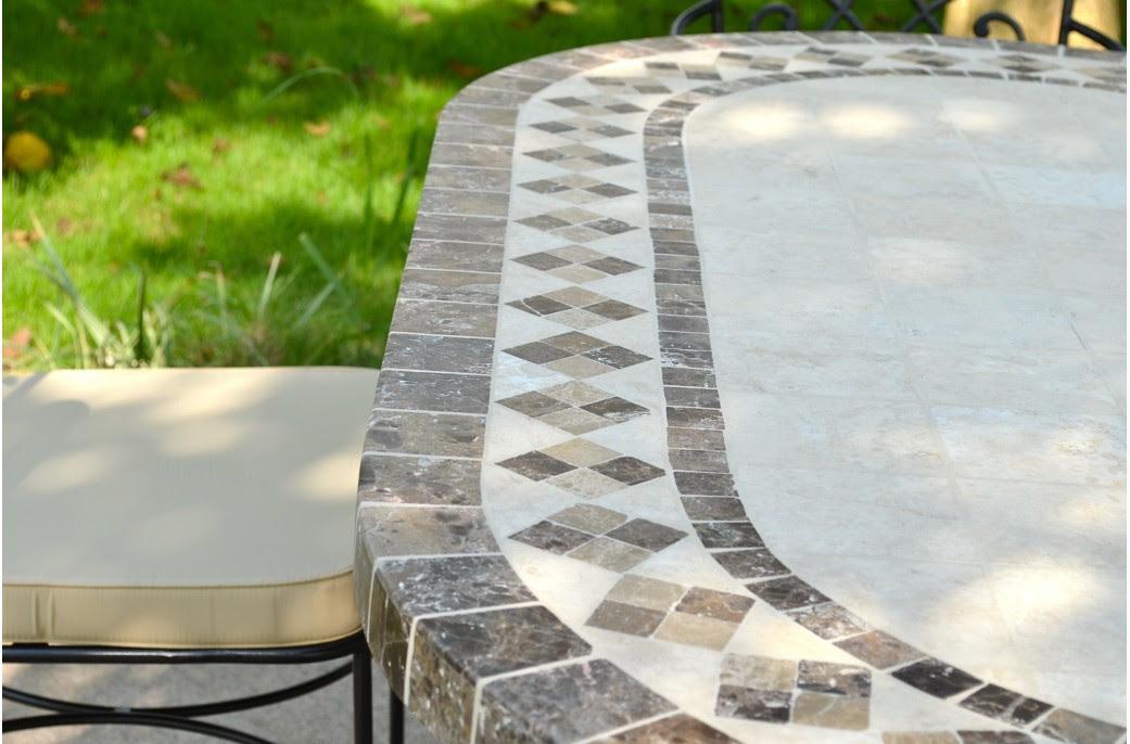 Table et chaises de terrasse: Table de jardin mosaique
