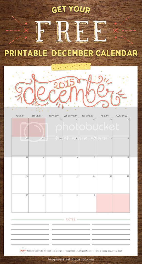 Happiness is... December 2015 Free Printable Calendar