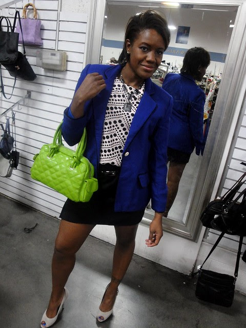 Blue Blazer, Neon Bag