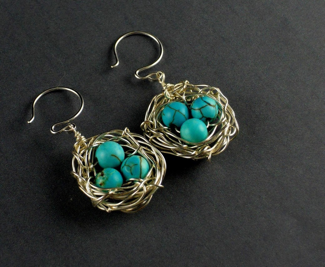 Silver Bird Egg Nest Turquoise Round Sterling Silver Ear Wires Earring