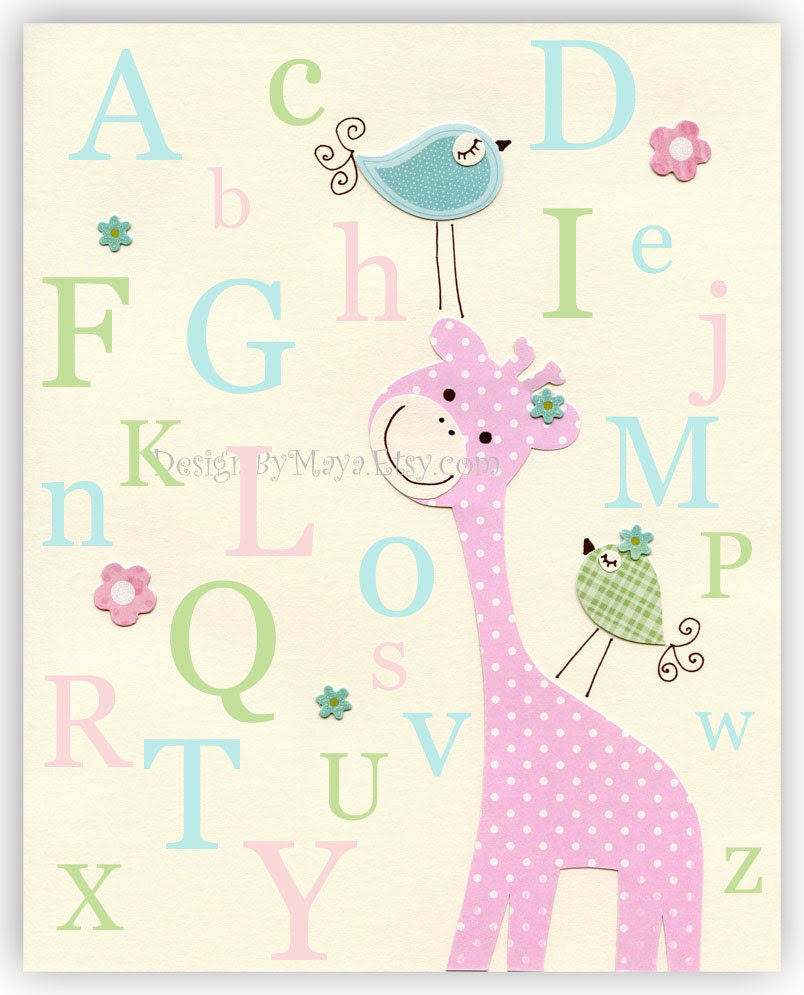 Baby girl wall art Nursery Decor Children room birds giraffe alphabet..Light blue green pink ABC - DesignByMaya