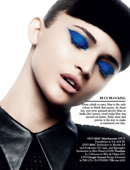 Brilliant color shadow looks great when kept bold but simple (no other shades blended) Blue Blocking.