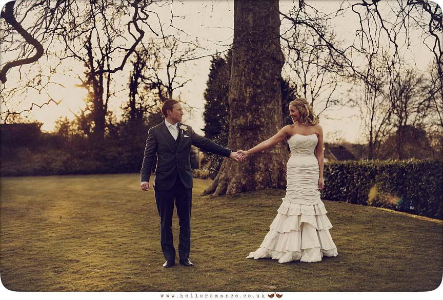 Bride and Groom walking - Bride and Groom Photoshoot - Maison Talbooth Dedham Wedding Photography Essex - Sian and James - Hello Romance Wedding Photography Fun Vintage wedding photography