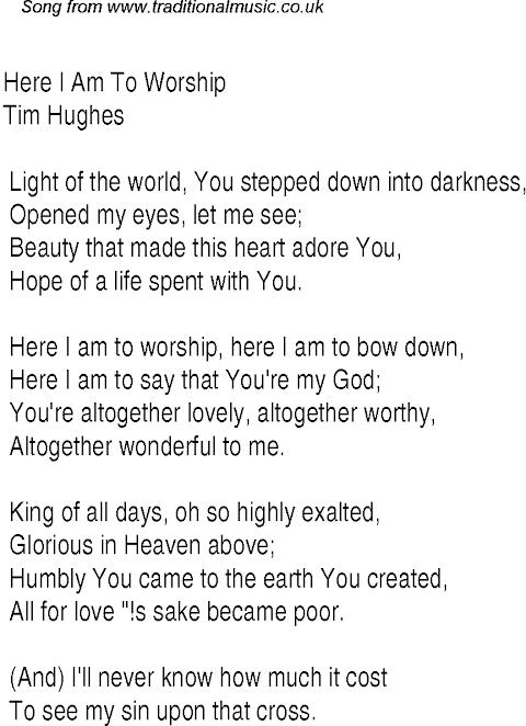 Lyrics To Here I Am To Worship